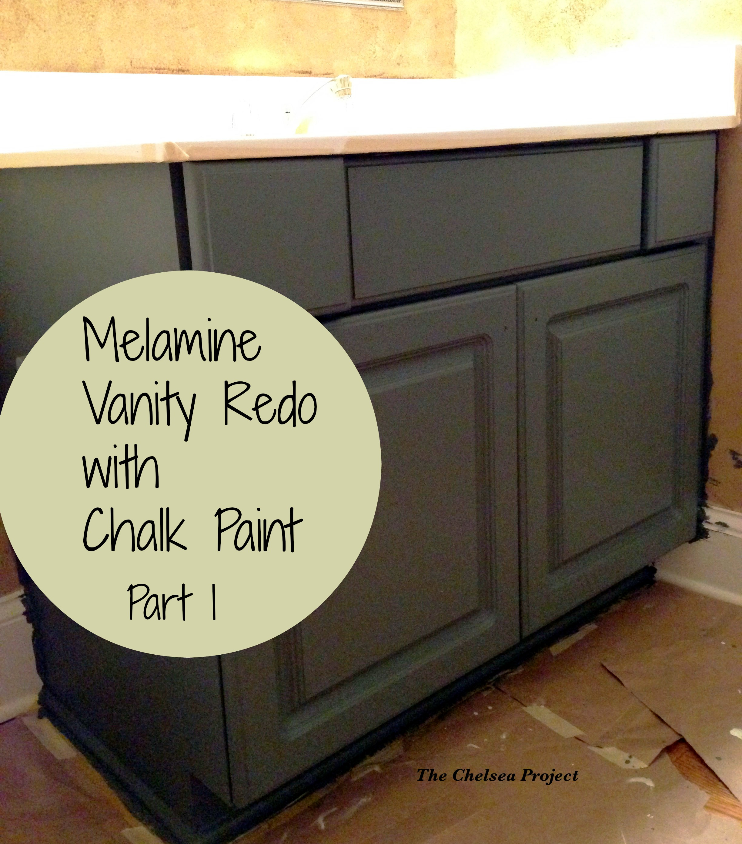 Melamine Bath Vanity Refinished Without Stripping, Sanding